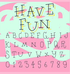 hand drawn doodle font set vector image