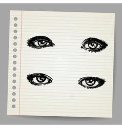 Hand Drawn Eyes vector image vector image