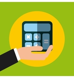 Hand holding a calculator icon vector