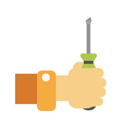 Hand with screwdriver vector