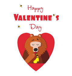 happy valentines day postcard of cute bear eating vector image