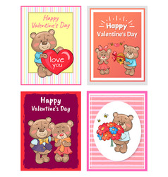 Happy valentines day poster set teddy with bouquet vector
