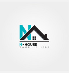 House icon template with n letter home creative vector