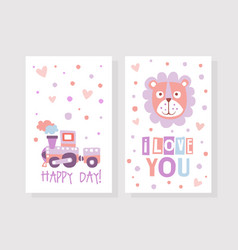 I love you happy day card template cute vector