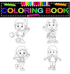 kids school coloring book vector image