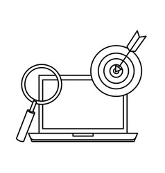 laptop with target and magnifying glass vector image