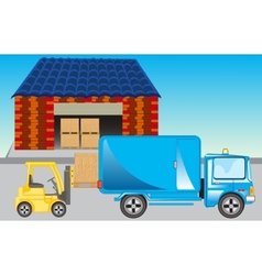 Loading of goods on storehouse vector