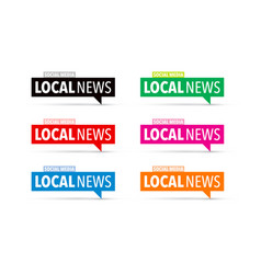 Local news icon set vector