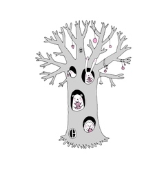 Magic tree animals and gifts vector