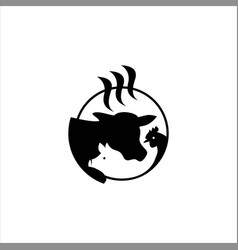meat processing logo idea vector image