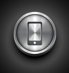 metallic phone icon vector image