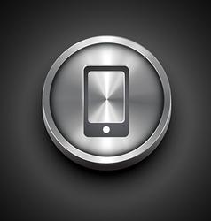 Metallic phone icon vector