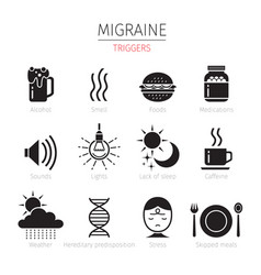 Migraine triggers icons set monochrome vector