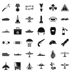 Military depot icons set simple style vector