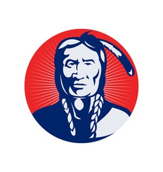 Native american indian chief facing front vector