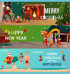 New year and christmas banners vector