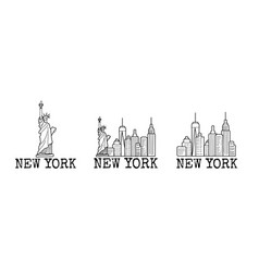 New york skyline cityscape line drawings set vector