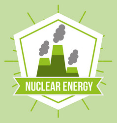 Nuclear power station sustainable energy emblem vector