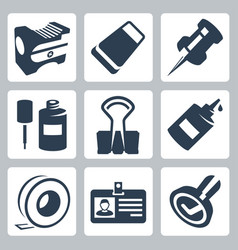 office stationery icons set pencil sharpener vector image
