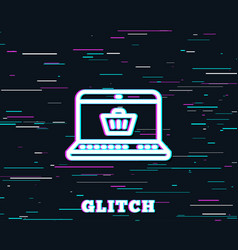 online shopping cart line icon laptop sign vector image