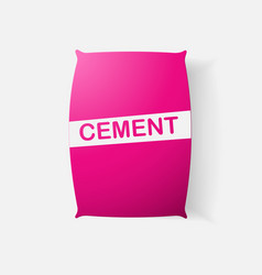 Paper clipped sticker bag cement vector