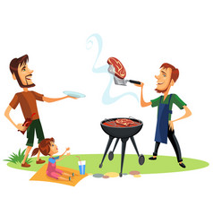 Picnic summer barbeque party poster vector