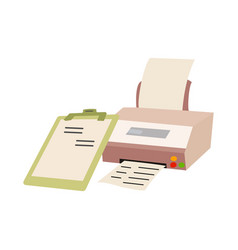printer comes with a pastel green clipboard vector image