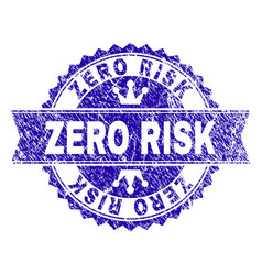 Scratched textured zero risk stamp seal with vector
