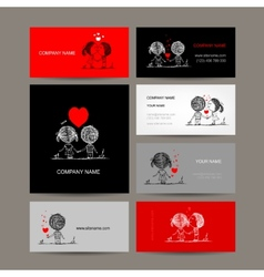 Set of business cards couple in love together vector image