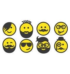 Set of hipster smiley faces vector image