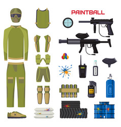 Set of paintball club symbols icons protection vector