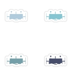 Set of paper stickers on white background romantic vector