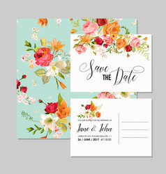 Set wedding cards with lily flowers vector