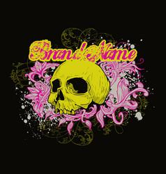 skull on floral background vector image
