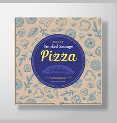 Smoked sausage pizza realistic cardboard box vector