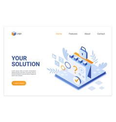 solution search isometric landing page vector image