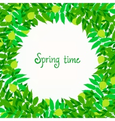 Spring card background with wreath of leaves vector image