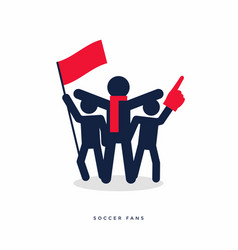 stick figures of sport fans cheering team vector image