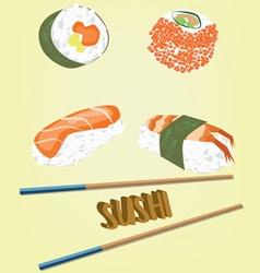 Sushi flat set vector