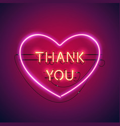 Thank you in the heart neon sign vector