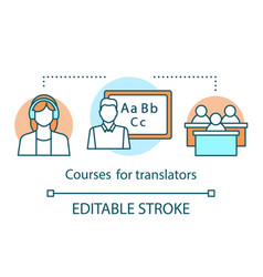 Translation services concept icon courses vector
