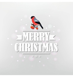 Vintage Christmas Poster With Bullfinch vector image