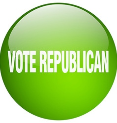 Vote republican green round gel isolated push vector