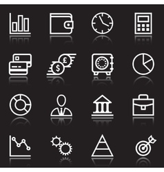 White business icons on black vector
