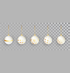white new year balls set with pattern on a vector image
