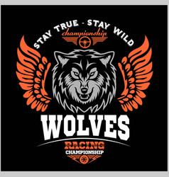 Wolf biker and wings on dark background vector