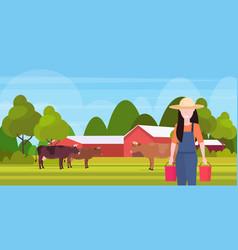 woman farmer carrying fresh milk pails domestic vector image