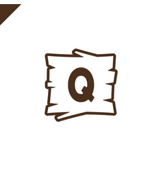 wooden alphabet or font blocks with letter q in vector image