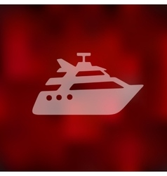 Yacht icon on blurred background vector