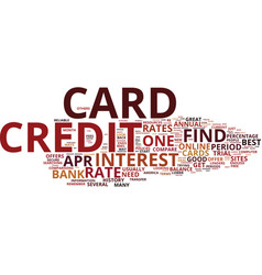 Zero percent credit cards text background word vector